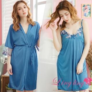 【lingling】PA3688全尺碼-V領繡花細肩睡裙+繡花網紗罩衫睡袍二件式睡衣組(經典藍)  lingling