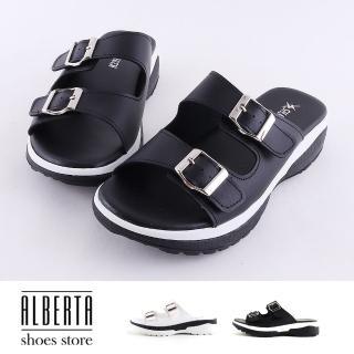 【Alberta】拖鞋-MIT台灣製扣環造型鞋面設計簡約黑白配色跟高3.5cm厚底涼拖鞋  Alberta