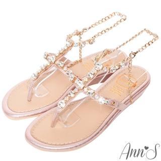 【Ann'S】女神許願池-冰鑽寶石繫踝腳鍊小坡跟夾腳涼鞋(粉)  Ann'S