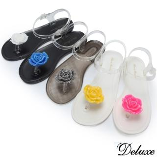 【Deluxe】夏日活力耀眼青春玫瑰夾腳涼鞋(灰☆藍☆桃☆黃☆白)  Deluxe
