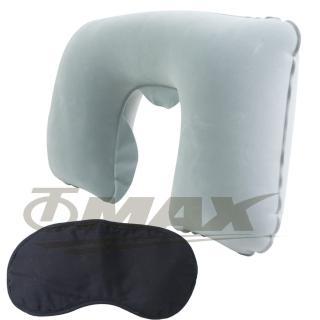 【OMAX】舒適植絨頸枕1入+高級眼罩1入 推薦  OMAX