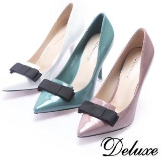 【Deluxe】復古簡約蝴蝶結馬卡龍漆皮尖高頭跟鞋(白☆粉☆綠)強力推薦  Deluxe