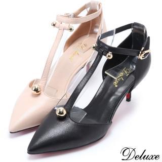 【Deluxe】全真皮法國女伶浪漫尖頭細跟高跟鞋(米☆黑) 推薦  Deluxe