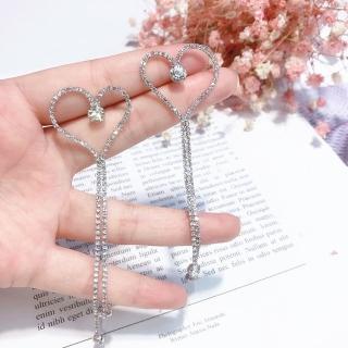 【梨花HaNA】韓國夢幻時刻愛心鑲鑽長流蘇耳環(共二色) 推薦  梨花HaNA
