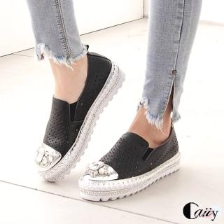 【Caiiy】休閒鞋.真皮鑲鑽懶人鞋A42(黑色/白色)推薦折扣  Caiiy