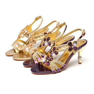 【Sp house】歐美時尚高貴花朵水鑽約會耀眼細跟涼鞋(金色紫色2色全尺碼)  Sp house