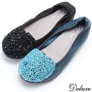 【Deluxe】全真皮璀璨之星亮皮串珠內增高包鞋(黑☆藍)  Deluxe