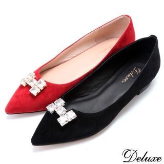 【Deluxe】全真皮優雅質感H字方形水鑽尖頭包鞋(紅☆黑)  Deluxe