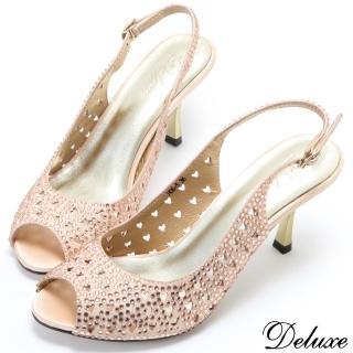 【Deluxe】時尚水鑽心型鏤空性感繫帶魚口涼跟鞋(金)  Deluxe