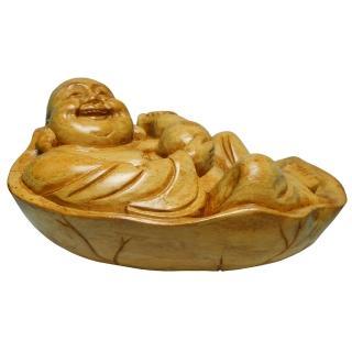 【KC】黃楊木雕刻品-不倒翁小臥佛之葫蘆笑彌勒(957D-6)  KC