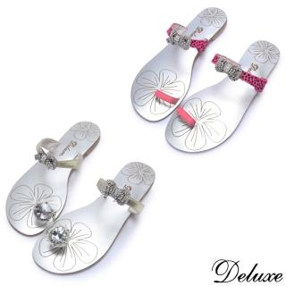 【Deluxe】真皮甜美腳戒馬毛繞帶夾腳拖鞋(桃☆金)強力推薦  Deluxe