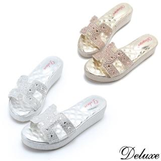 【Deluxe】夏日經典閃亮格紋H字水鑽拖鞋(金☆銀)  Deluxe