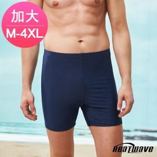 【Heatwave 熱浪】加大男泳褲 二五分平口褲-純黑367(L-4XL) 推薦  Heatwave 熱浪