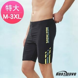 【Heatwave 熱浪】加大男泳褲 五分平口褲-乘風355藍(M-3XL) 推薦  Heatwave 熱浪