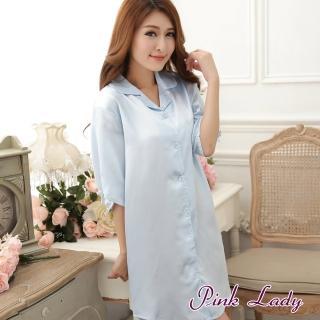 【PINK LADY】性感男朋友 絲質襯衫連身睡裙005(水藍)  PINK LADY