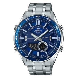 【CASIO 卡西歐】EDIFICE EFV-C100D-2A 雙顯男錶 不鏽鋼錶帶 藍色錶面 防水100米(EFV-C100D-2A)  CASIO 卡西歐