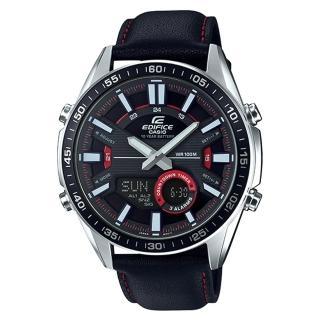 【CASIO 卡西歐】EDIFICE EFV-C100L-1A 雙顯男錶 皮革錶帶 黑X紅 防水100米(EFV-C100L-1A)  CASIO 卡西歐