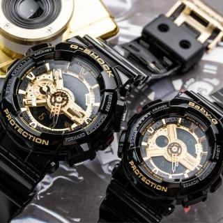 【CASIO 卡西歐】G-SHOCK & BABY-G 霸氣黑金情人對錶(GA-110GB-1ADR_BA-110-1ADR)  CASIO 卡西歐