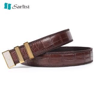 【Sarlisi】真皮鱷魚皮皮帶商務腰帶(輕奢真皮腰帶三段鋼扣)  Sarlisi