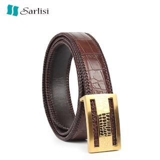 【Sarlisi】真皮鱷魚皮皮帶商務腰帶(輕奢真皮腰帶石頭紋扣) 推薦  Sarlisi