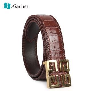 【Sarlisi】真皮鱷魚皮皮帶商務腰帶(輕奢真皮腰帶方扣)  Sarlisi