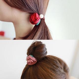 【梨花HaNA】韓國手工緞帶玫瑰花園珍珠捲捲髮圈  梨花HaNA