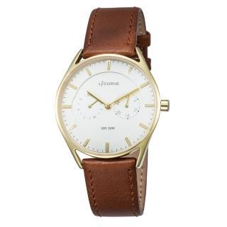 【LICORNE】力抗 經典時尚簡約手錶(白/棕 LT128MKWD1)  LICORNE