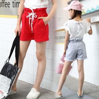 【小衣衫童裝】中大童木耳邊高腰捲邊短褲(1070607)  小衣衫童裝