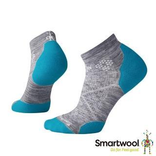 【SmartWool】女PhD輕量菁英減震型跑步短襪(淺灰/碧藍)  SmartWool