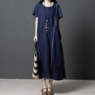 【A.Cheter】皇家藝術小排扣舒適涼爽棉麻寬鬆短袖洋裝102699*(2色)  A.Cheter
