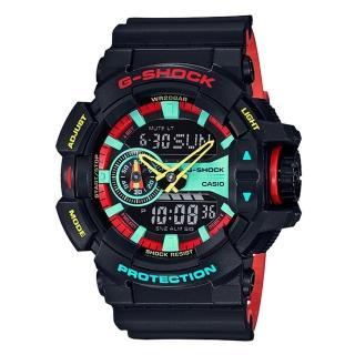 【CASIO 卡西歐】G-SHOCK 雷鬼風格雙顯男錶 樹脂錶帶 紅X綠X黃 防水200米 世界時(GA-400CM-1A) 推薦  CASIO 卡西歐