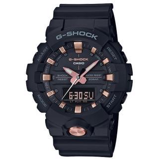【CASIO 卡西歐】G-SHOCK 街頭潮流雙顯男錶 數脂錶帶 黑X玫瑰金錶面 防水200米 世界時間(GA-810B-1A4)真心推薦  CASIO 卡西歐