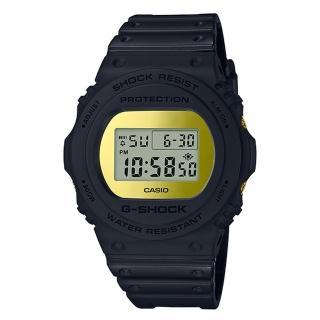 【CASIO 卡西歐】G-SHOCK 復刻經典電子男錶 樹脂錶帶 金色錶面 防水200米(DW-5700BBMB-1D) 推薦  CASIO 卡西歐