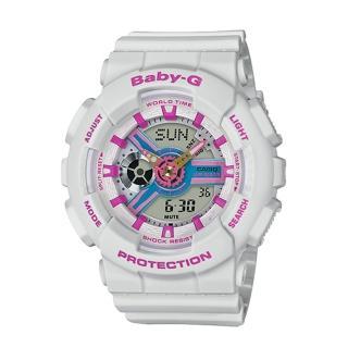 【CASIO 卡西歐】BABY-G 90年代色彩 雙顯女錶 樹脂錶帶 藍X紫色錶面 防水100米 世界時間(BA-110NR-8A)  CASIO 卡西歐
