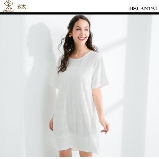 【玄太】質感圓領棉質拼接網紗格紋洋裝(白) 推薦  玄太