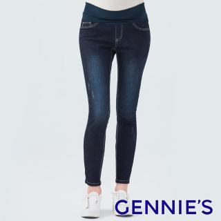 【Gennies 奇妮】經典修身微刷破一體成型牛仔褲(深藍T4D24)推薦折扣  Gennies 奇妮