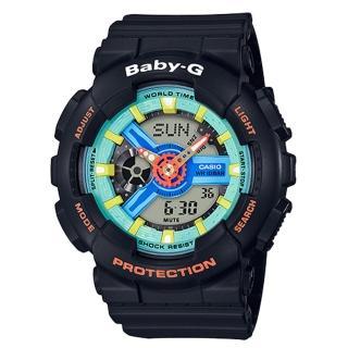 【CASIO 卡西歐】BABY-G 90年代色彩 雙顯女錶 樹脂錶帶 綠X藍X紅色錶面 防水100米 世界時間(BA-110NR-1A)好評推薦  CASIO 卡西歐