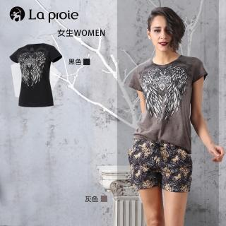 【La proie 萊博瑞】女式時尚設計款印壓花短袖T恤(純棉手工壓印花時尚修身T恤)強力推薦  La proie 萊博瑞