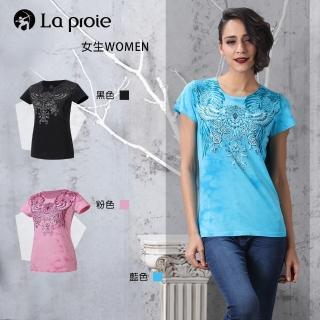 【La proie 萊博瑞】女式時尚設計款棉柔短袖T恤(三色-純棉手工壓印花時尚修身T恤)  La proie 萊博瑞