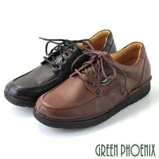 【GREEN PHOENIX波兒德】寬楦極簡素面縫線綁帶真皮休閒/通勤皮鞋(黑色)  GREEN PHOENIX波兒德