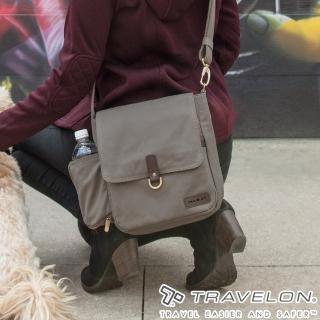 【Travelon】COURIER防盜休閒旅行斜背包(TL-33305-18石灰/防割鋼網/RFID個資防盜/帆布包)  Travelon