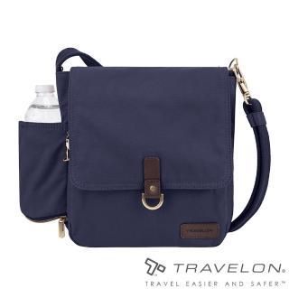 【Travelon】COURIER防盜休閒旅行斜背包(TL-33305-18靛藍/防割鋼網/RFID個資防盜/帆布包)  Travelon