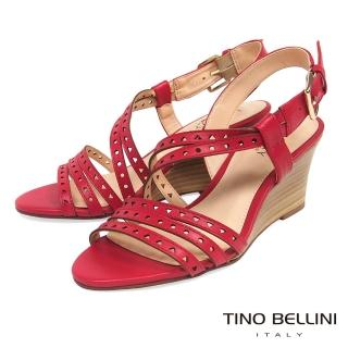 【TINO BELLINI 貝里尼】巴西進口牛皮沖孔羅馬線條楔型涼鞋B83230(紅)真心推薦  TINO BELLINI 貝里尼