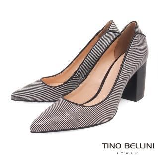 【TINO BELLINI 貝里尼】巴西進口蛇紋佐雙色條紋尖頭跟鞋B83228(黑)  TINO BELLINI 貝里尼