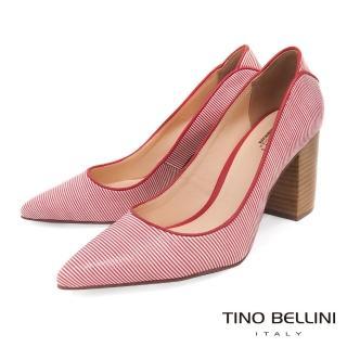 【TINO BELLINI 貝里尼】巴西進口蛇紋佐雙色條紋尖頭跟鞋B83228(紅)  TINO BELLINI 貝里尼