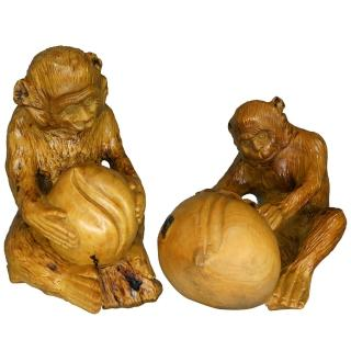 【KC】黃楊木仿樹根雕刻品-雙猴獻仙桃2入組(C12) 推薦  KC