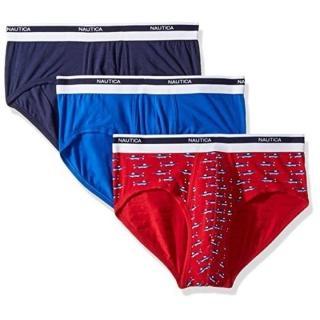 【NAUTICA】2018男時尚彈性棉雙藍紅色三角內著混搭3件組-網(預購)強力推薦  NAUTICA