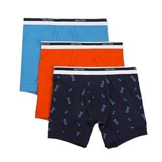 【NAUTICA】2018男時尚彈性棉雙藍橙色四角修飾內著混搭3件組-網(預購)  NAUTICA