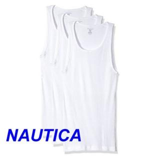 【NAUTICA】2018男時尚經典白色圓領背心3件組-網(預購)  NAUTICA