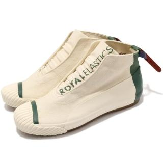 【ROYAL Elastics】休閒鞋 London Hi 男鞋 高筒 帆布 皮革 無鞋帶 穿搭 米 綠(03482004)好評推薦  ROYAL Elastics